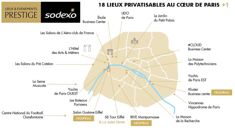 Lieux & Evénements Prestige Sodexo, 18 lieux privatisables au coeur de Paris
